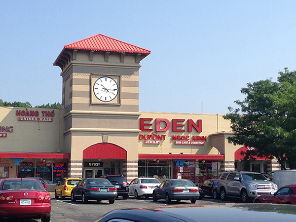 """The main building in Eden Center. The adjacent structure is called """"Saigon East."""""""