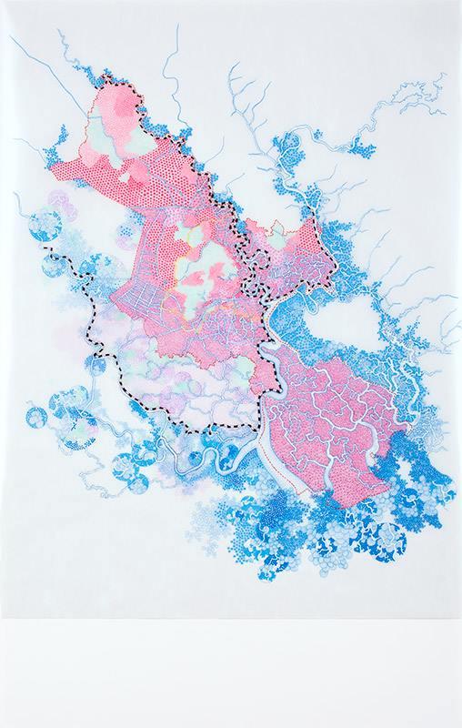HCMC extreme flood prediction 2050 – ADB & ICEM reports dự đoán ngập lụt cực độ ở Hồ Chí Minh năm 2050 - báo cáo của ADB và ICEM  2013 micro pigment ink, gel ink, and oil on vellum and paper mực micro pigment, mực gel, và sơn dầu trên vellum và giấy 110 x 70 cm