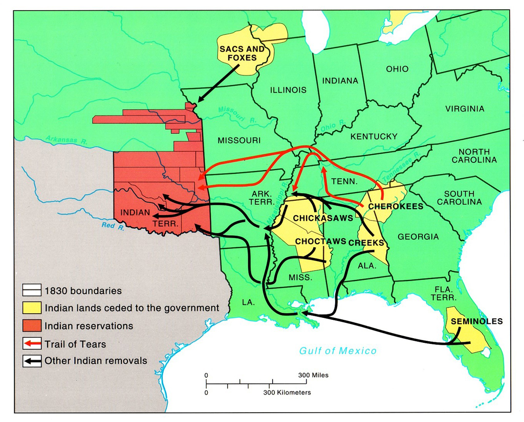 A map of Native American removal to Indian Territory during the 19th century.