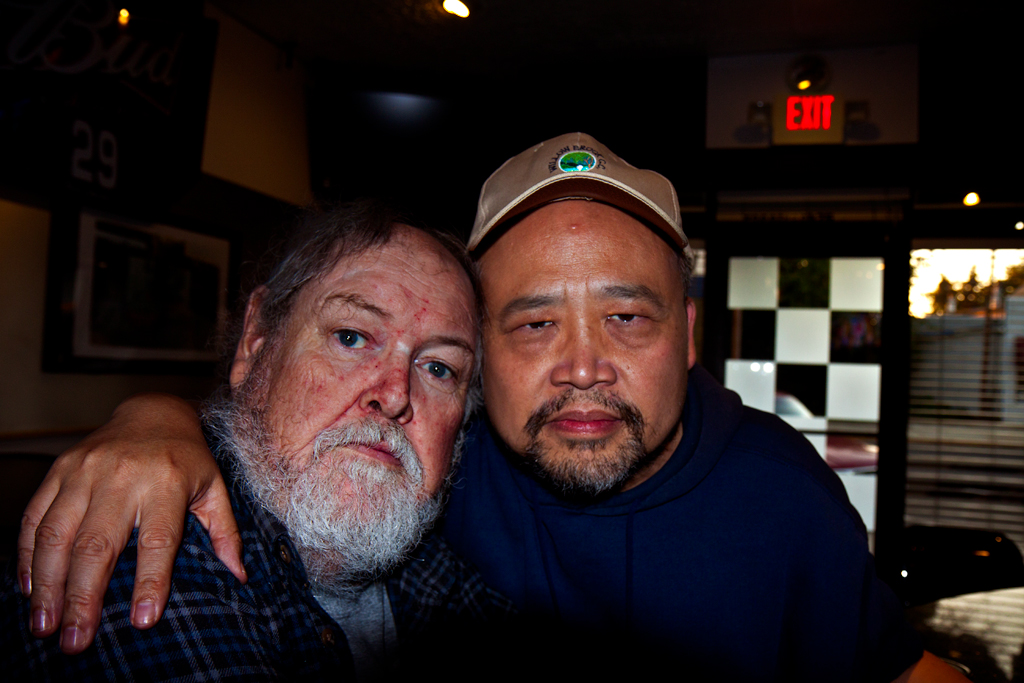 Linh Dinh with Joe in Riverside, New Jersey
