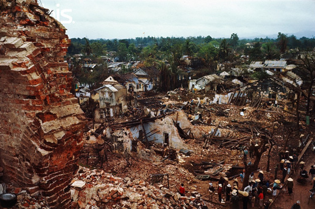 Top View of People Returning to Their Damaged Homes