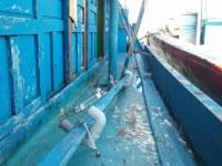 Damaged Vietnamese fishing boat