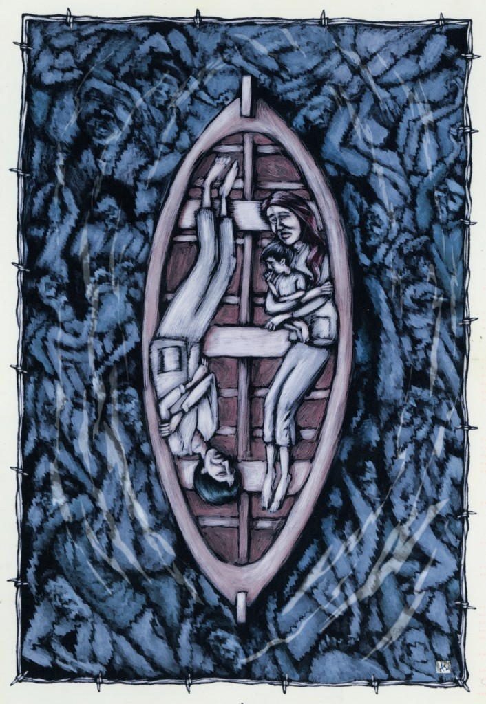 Boat people illustration by Anthony Strom