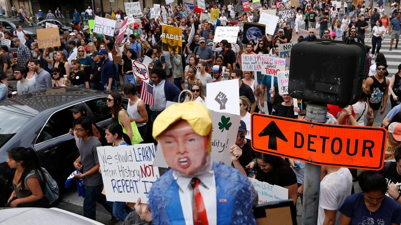 Demonstrators protest the election of Donald Trump in Los Angeles on Nov. 12. (Genaro Molina / Los Angeles Times)
