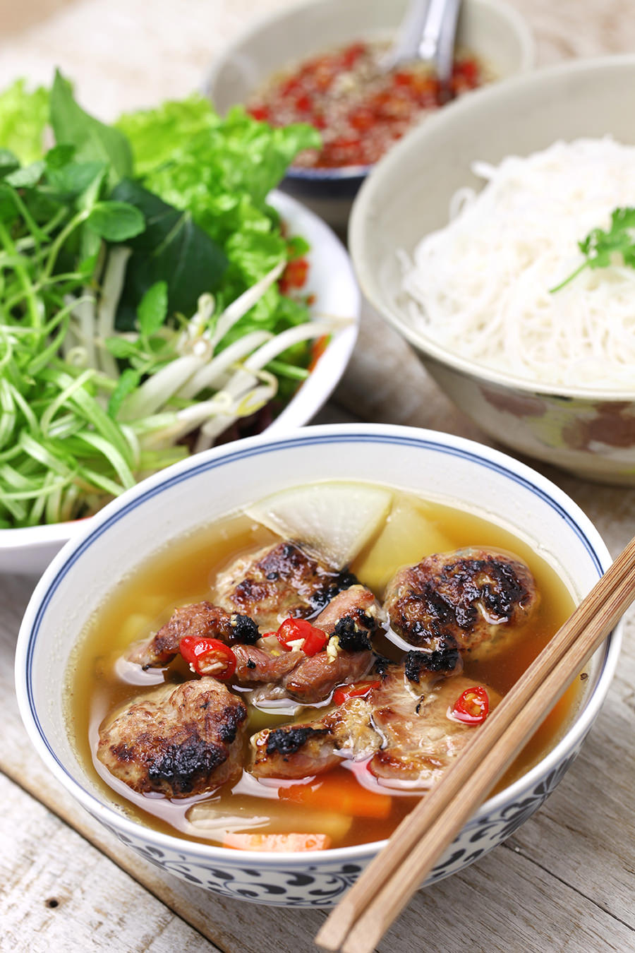 Hanoi Style Vermicelli with Grilled Pork